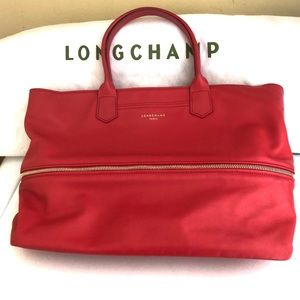 LONGCHAMP 2.0 CORAL 100% LEATHER EXPANDABLE TOTE